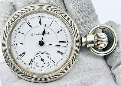 Vintage Private Label 18s Columbus Pocket Watch In Nickel Case