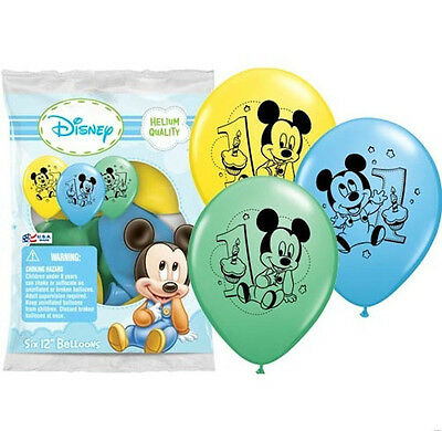 12 Baby Mickey Mouse 1st First Birthday Favor Balloons Party Supply Decorations Party Supplies Universitasfundacion Home Garden