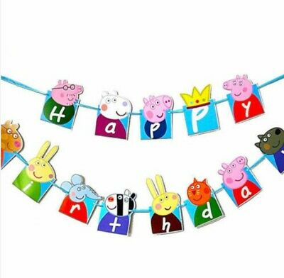Party Decorations Peppa Wutz Peppa Pig Birthday Banners Decoration Kids Party Banner Bunting George Home Garden