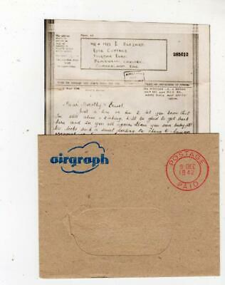 GB: 1942 Censored Airgraph from serving soldier in India with envelope (C50128)