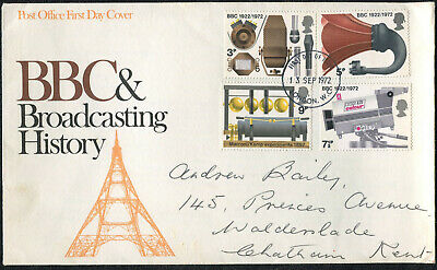 First Day Cover: Sept 1972 BBC & Broadcasting History 4 Stamps: Illustrated