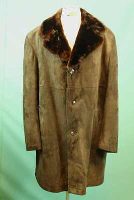 Noble wild leather coat approx. 60 / XXL brown men tsar shearling real vintage rar