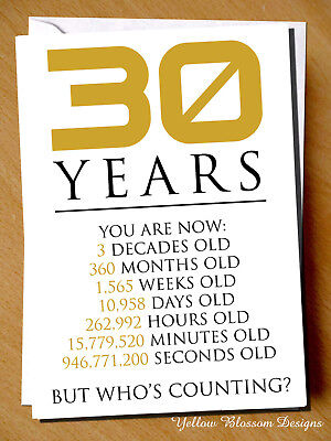 Happy 30th Birthday Funny Greetings Card Friend Sister Brother 30 Years Old Joke Eur 3 48 Picclick Fr