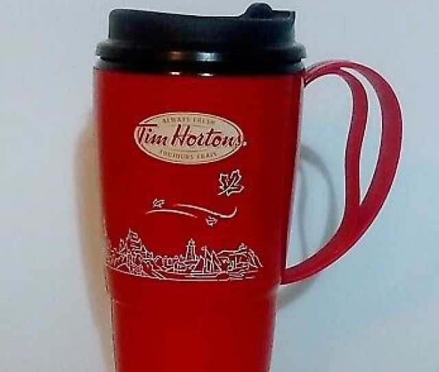 Tim Hortons Plastic Travel Coffee Mug Oz Thermo Serv Dallas Texas Advertising