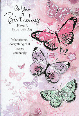 Open Female Happy Birthday Greeting Card Butterflies 7 By 5 Free P P 1 89 Picclick Uk