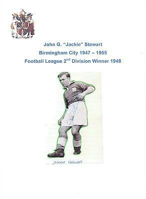 Jackie Stewart Birmingham City 1947-1955 Rare Orig Hand Signed Picture Cutting