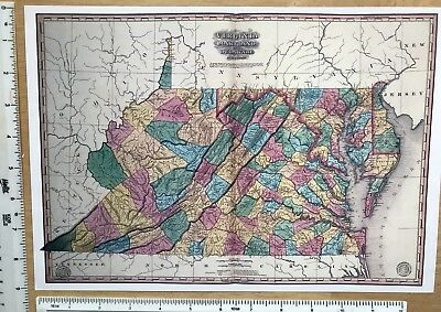 ANTIQUE VINTAGE MAP 1800s  Virginia  Maryland  America  1827  13 X 9     Antique Vintage MAP 1800s  Virginia  Maryland  America  1827  13 X 9