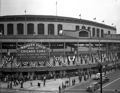 Black & White Wrigley Field Home of the Chicago Cubs 8 X 10 Photo Picture