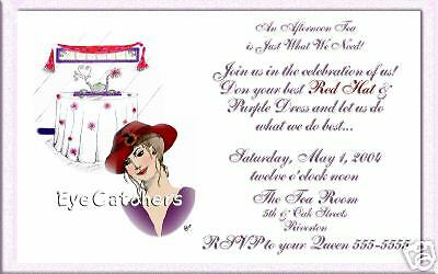 Personalized Red Hat Tea Party Invitations For Society