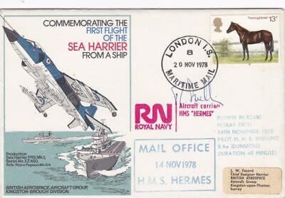 Gb 1978 Hms Hermes Signed Cover Illustrated + Flown By Harrier