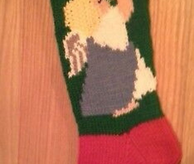 Hand Knitted Personalized Angel Christmas Stocking