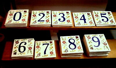 floral house numbers ceramic tile