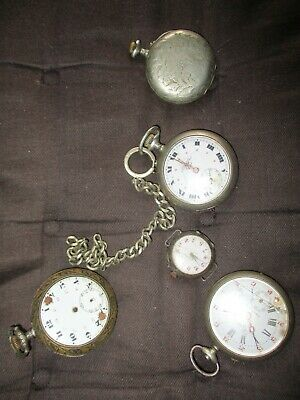 Lot Of Old Pocket Watches In Silver Metal