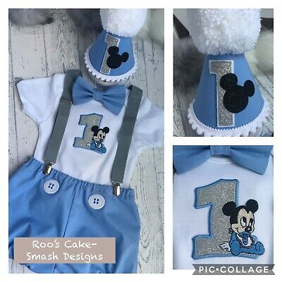 New Mickey Mouse Baby Boy S 1st Birthday Cake Smash Party Prop Outfit Blue 12 1 14 00 Picclick Uk