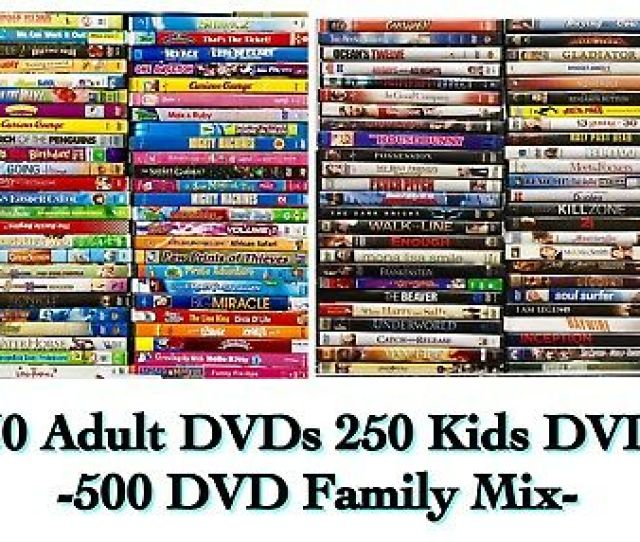 500 Dvd Lot Assorted 250 Kids Movies Shows Mix 250 Adult Dvd Movies