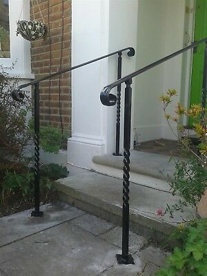 Adjustable Angle Mobility Wrought Iron Handrail With Post For   Wrought Iron Handrails For Outside Steps   Stair Covering   Front Porch   Metal