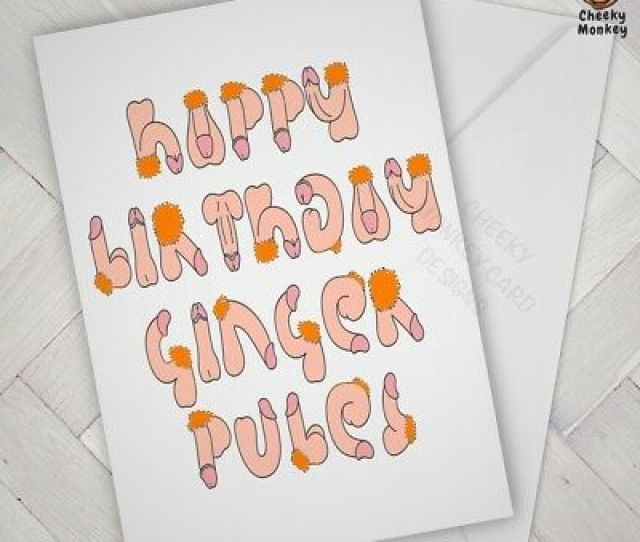 Funny Birthday Card Ginger Pubes Joke Humour Offensive Rude Naughty Cheeky Penis