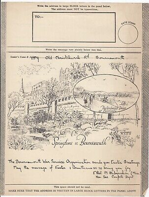 WW2 Illustrated Airgraph Form Springtime In Bournemouth Military Comfort Funds
