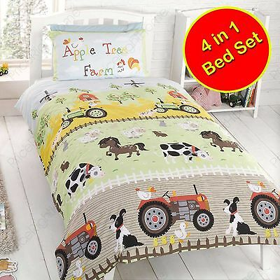 apple tree ferme couette junior lit bebe ensemble 4 en 1 parure paquet