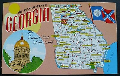 1960S PICTORIAL MAP of Georgia   Capitol Building  Old State Flag     1960s Pictorial Map of Georgia   Capitol Building  Old State Flag Color  Postcard
