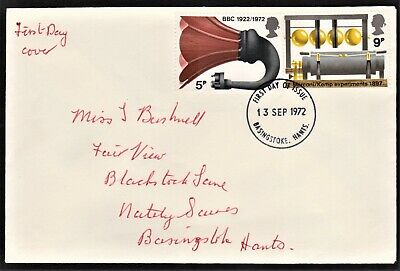 Gb 1972 Plain First Day Cover Bbc & Broadcasting History Sg909 & 911