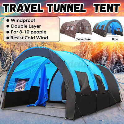 8-10 Person Tent Waterproof Outdoor Camping Party Large Space Hiking DE