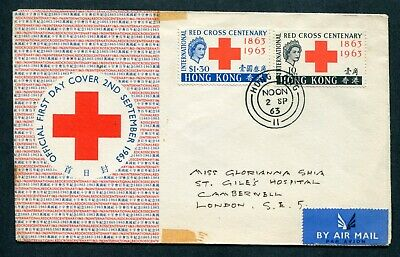 2.09.1963 Hong Kong GB QEII Red Cross set stamps on illust. FDC to London, GB UK