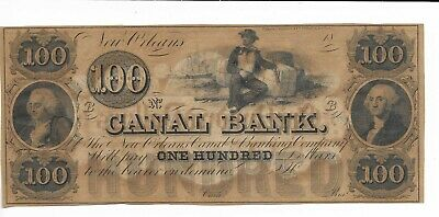 Note Louisiane Neuf Orleans Canal Banque 18XX unissued Plate B Man Cotton