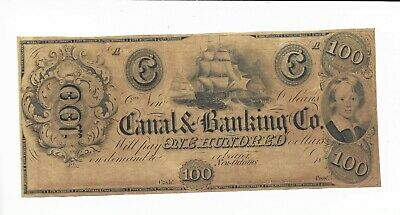 C Note Louisiane Neuf Orleans Canal Banque 18XX unissued Plate A Voile Bateau