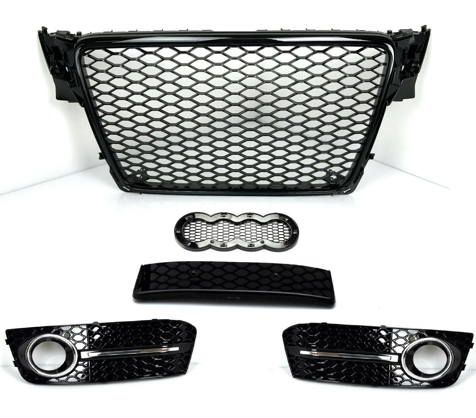 Rs4 Look Grill Fur Audi A4 B8 8k Limo Avant Wabengrill Kuhlergrill Schwarz