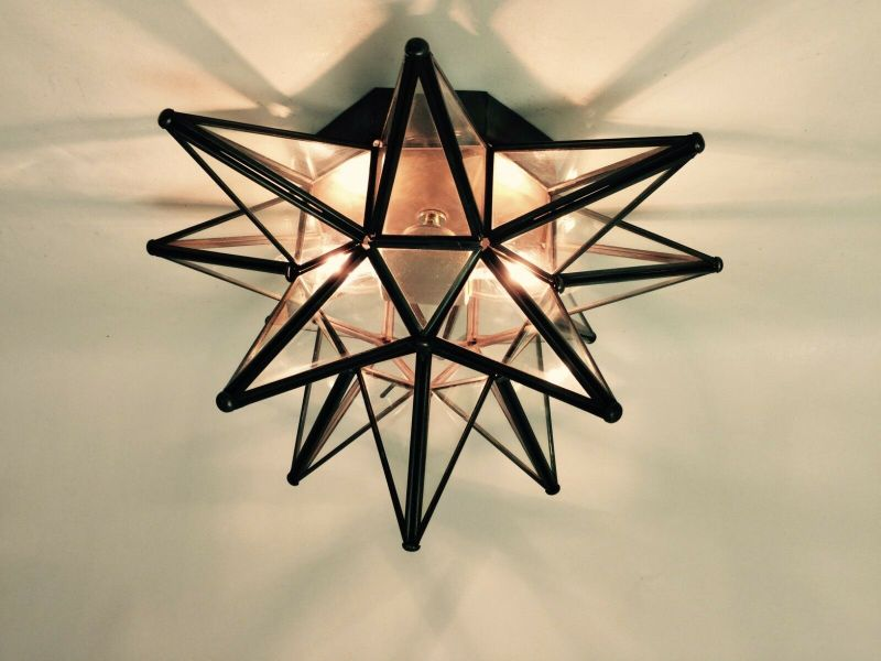 MORAVIAN STAR CEILING Light Wall Sconce 15   Glass  Hand Crafted     1 of 8FREE Shipping
