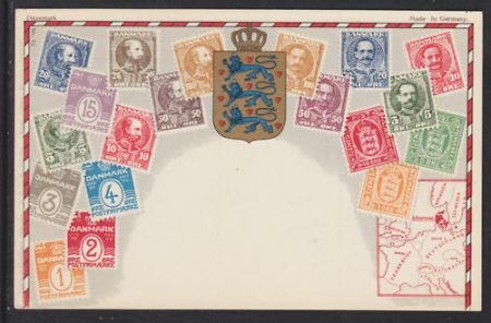 ZIEHER  72 UNUSED PPC  Stamps   Map of Denmark  flat print    21 50     1 of 1Only 1 available