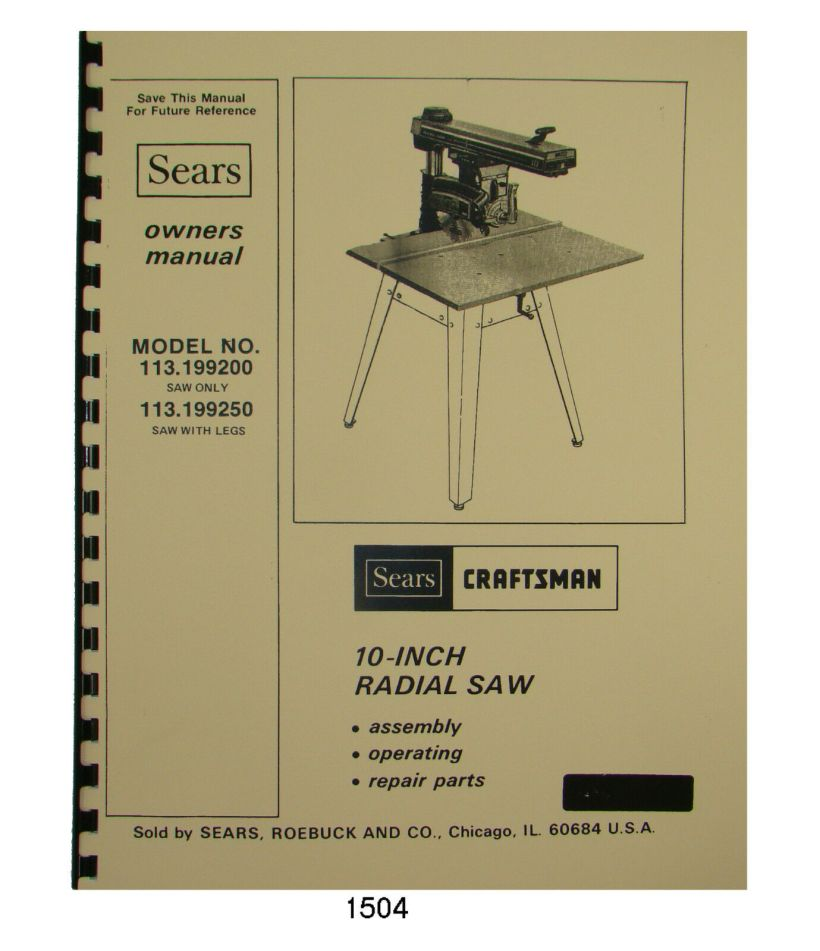 Craftsman 10 Table Saw Owners Manual | Jidiletter co
