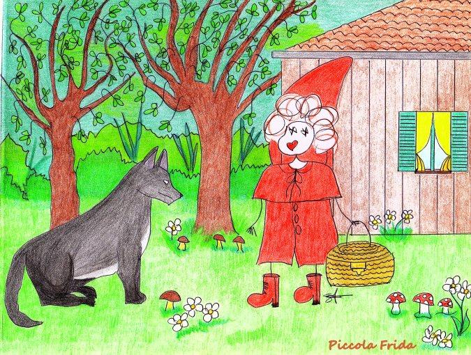 illustrazione disegno cappuccetto rosso con il lupo - favola - fiaba