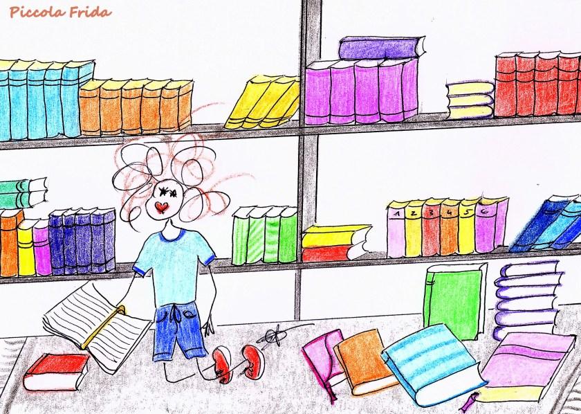 disegno di un bambino che studia in biblioteca - libri - illustrazione a colori