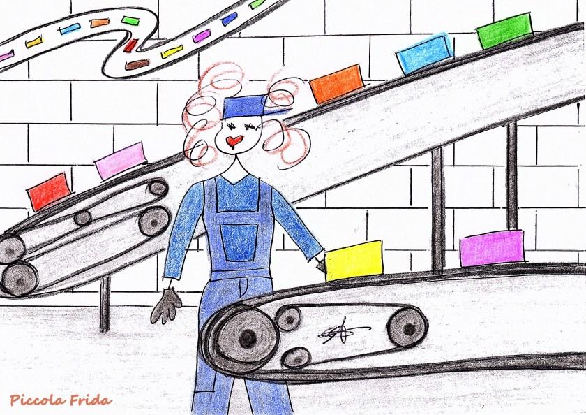 disegno di un operaio che lavora alla catena di montaggio in fabbrica - illustrazione