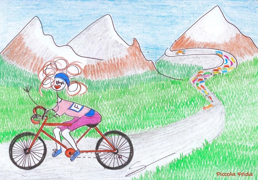 Disegno Giro d'Italia - ciclista in maglia rosa in montagna