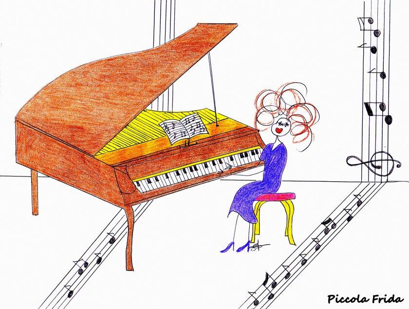 illustrazione pianista con pianoforte a coda - musica - disegno