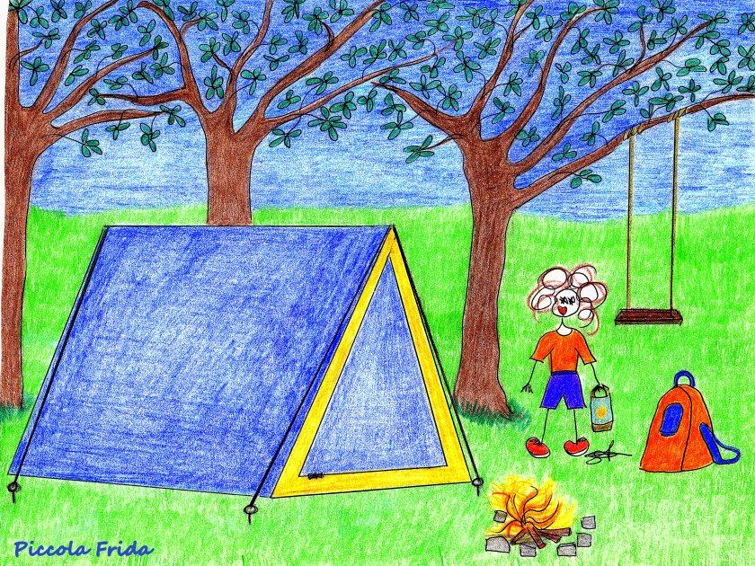 disegno bambina in campeggio in tenda - illustrazione
