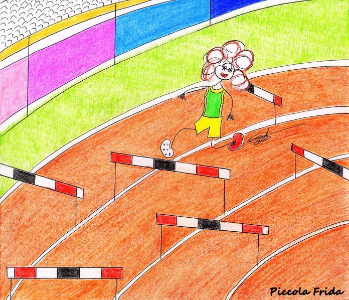 illustrazione disegno corsa a ostacoli - atletica leggera - sport