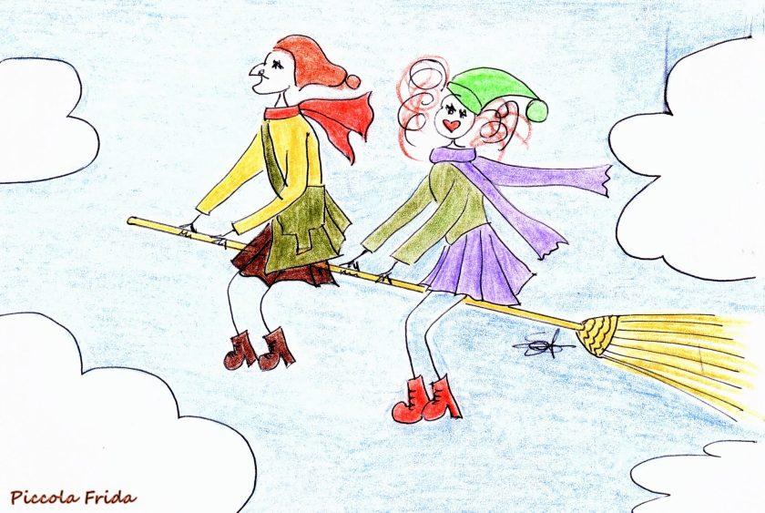 disegno befana che vola sulla scopa - Epifania - illustrazione di Susanna Albini