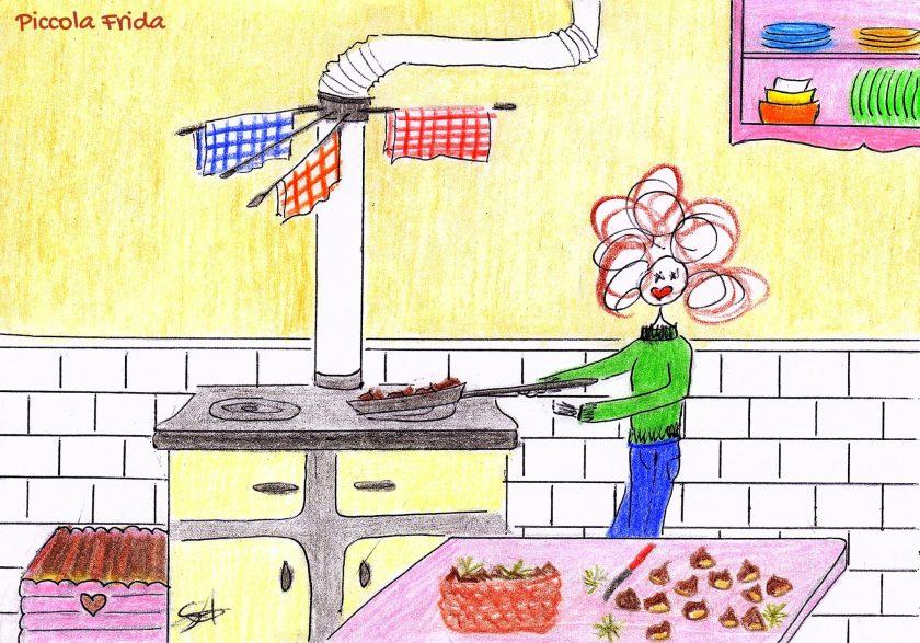 disegno ragazza che cucina castagne caldarroste sulla stufa a legna - illustrazione di Susanna Albini