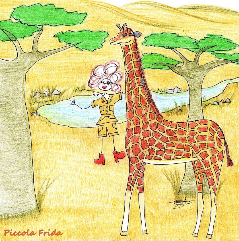 Illustrazione giraffa nella savana tra i baobab - disegno di Susanna Albini
