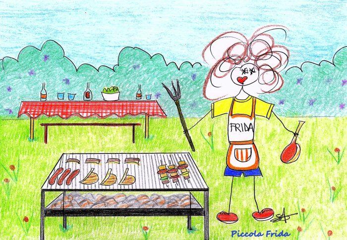 illustrazione grigliata di ferragosto - estate - disegno di Susanna Albini
