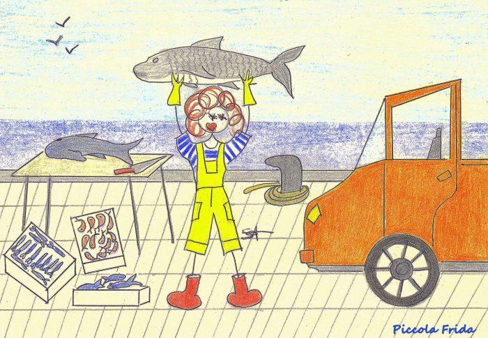 disegno pescivendolo al mercato del pesce sul mare - illustrazione di Susanna Albini