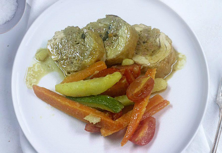 Girelle di pollo con verdure