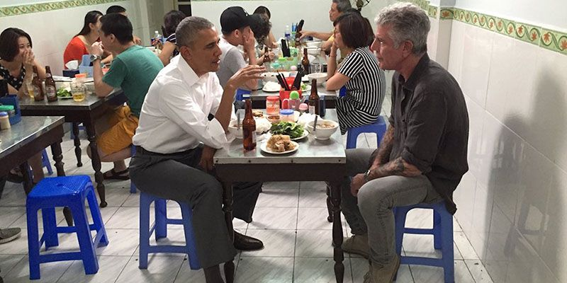 Anthony Bourdain con Obama