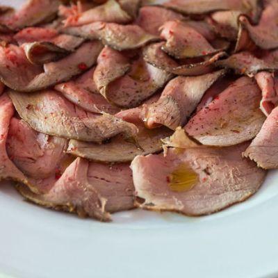 Carpaccio di Roast-beef al pepe rosa