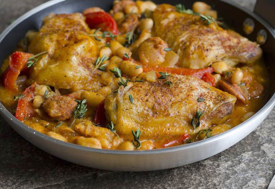 Pollo ai fagioli
