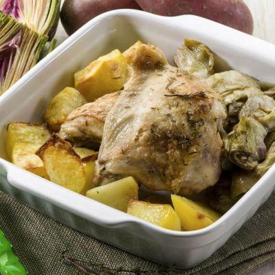 Pollo con patate e carciofi